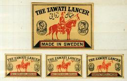 3+1 Alte Zündholzetiketten Aus Schweden, The Zawati Lancer,  Made In Sweden. - Matchbox Labels