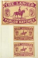 2+1 Alte Zündholzetiketten Aus Schweden, The Lancer, Parlor Matches, Made At Solberga In Sweden. - Matchbox Labels