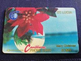 SAINT LUCIA $20 , MERRY CHRISTMAS  5CSLA    OLD Logo C&W ** 1269 ** - St. Lucia