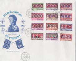St. Vincent 1977 Queen Elizabeth II Silver Jubilee Set Of 12 + S/s On 2 FDC - Case Reali