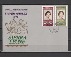 Sierra Leone 1977 Queen Elizabeth II Silver Jubilee Set Of 2 On FDC - Case Reali