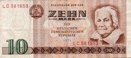 GERMANY-DEMOCRATIC REP. 10 MARK 1971 **CIRC.   P-28a - [ 6] 1949-1990: DDR - Duitse Dem. Rep.