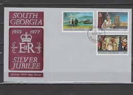 South Georgia 1977 Queen Elizabeth II Silver Jubilee Set Of 3 On FDC - Case Reali