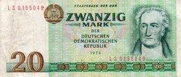 GERMANY-DEMOCRATIC REP. 20 MARK 1975 **CIRC.   P-29a - [ 6] 1949-1990 : GDR - German Dem. Rep.