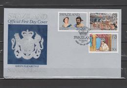 Swaziland 1977 Queen Elizabeth II Silver Jubilee Set Of 3 On FDC - Case Reali