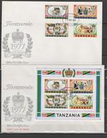 Tanzania 1977 Queen Elizabeth II Silver Jubilee Set Of 4 + S/s On 2 FDC - Case Reali