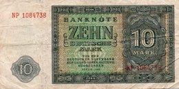 GERMANY-DEMOCRATIC REP. 10 DEUTSCHE MARK 1948 **CIRC.   P-12b - [ 5] Ocupación De Los Aliados