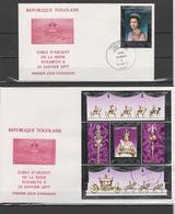 Togo 1977 Queen Elizabeth II Silver Jubilee Stamp + S/s On 2 FDC - Case Reali