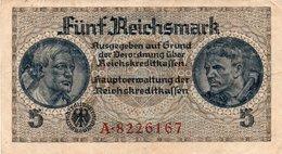 GERMANY-. 5 REICHSMARK 1940 **CIRC.   P-R138a  XF+ - [ 4] 1933-1945 : Tercer Reich