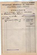 VP17.028 - Facture - Mécanique Générale De Précision EYRIGNOUX à PARIS Rue De Mouzaia - France
