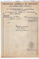 VP17.030 - Facture - Mécanique Générale De Précision Ve EYRIGNOUX & Son Fils à PARIS Rue De Mouzaia - France