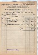 VP17.031 - Facture - Mécanique Générale De Précision Ve EYRIGNOUX & Son Fils à PARIS Rue De Mouzaia - France