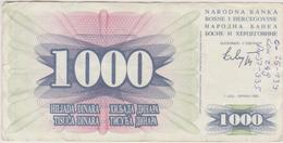 Bosnie-Herzégovine - Billet De 1000 Dinara - 1er Juillet 1992 - Bosnie-Herzegovine