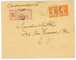 PAIRE N° 141  SEMEUSE 30C ORANGE SEINE ENV 1920 PARIS LETTRE RECOMMANDEE AVEC PAIRE N° 141  SEMEUSE 30C ORANGE - Marcophilie (Lettres)