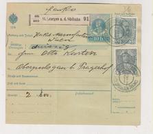 SLOVENIA,Austria 1915 ST.GEORGEN A,d, Sudbahn SV.JURAJ Ob JUZNI ZELEZNICI Parcel Card - Eslovenia