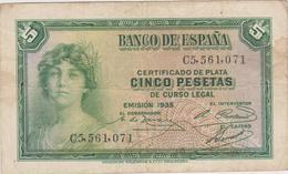 Espagne - Billet De 5 Pesetas - 1935 - [ 2] 1931-1936: Republik