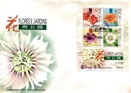 MAC1316.5-Macau FDCB With Block Of 4 Stamps - Flowers And Gardens - 2nd. Series - Macau - 1993 - Macau