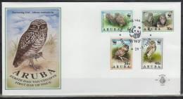Nbt049fb ROOFVOGELS UIL WWF BIRDS OF PREY OWL GREIFVÖGEL EULE AVES HIBOUX OISEAUX ARUBA 1994 FDC - Owls