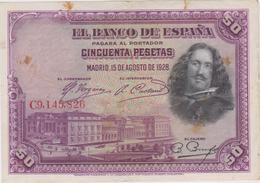 Espagne - Billet De 50 Pesetas - Diego Velasquez - 15 Août 1928 - 50 Pesetas