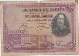 Espagne - Billet De 50 Pesetas - Diego Velasquez - 15 Août 1928 - [ 2] 1931-1936: Republik