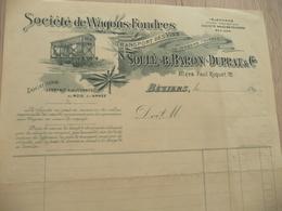 Facture Illustrée Vierge Société Des Wagons Foudres Soulé Baron Duprat Vers 1890 Transport Vins - Transporte
