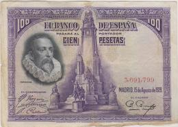 Espagne - Billet De 100 Pesetas - Miguel De Cervantes - 15 Août 1928 - 100 Pesetas