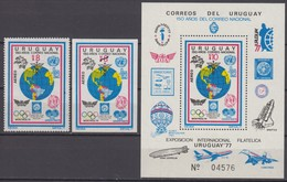 Uruguay 29.07.1977 Mi # 1465 АВ Bl 35 Montreal Summer Olympics, 1978 FIFA World Cup MNH OG - Estate 1976: Montreal