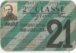 CARTE DE CIRCULATION - Titres De Transport