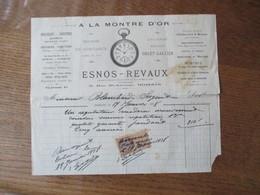 BOHAIN ESNOS-REVAUX HORLOGERIE-BIJOUTERIE A LA MONTRE D'OR 6 RUE St ANTOINE FACTURE DU 19 JANVIER 1928 - 1900 – 1949
