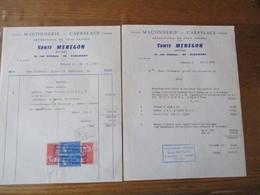 RIBEMONT SANTE MENEGON ARTISAN MACONNERIE CARELAGE 11 RUE ABBAYE FACTURES DES 10.7.1967 ET 13.7.1967 - France