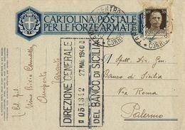 FRANCHIGIA POSTA MILITARE 1940 AEROPORTO TARANTO X PALERMO - Militärpost (MP)