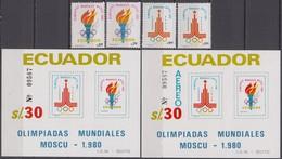 Ecuador 28.07.1980 Mi # 1864-65 Bl 95-96Moscow Summer Olympics MNH OG - Summer 1980: Moscow