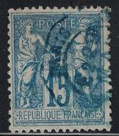 SAGE - N°90 - CACHET A DATE - LEVEE EXCEPTIONNELLE EN BLEU - PARIS - E2. - Marcophily (detached Stamps)