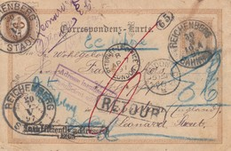 EP Obl REICHENBERG BAHNHOF Du 30.3.97 Adressé à London Avec Adresse Insuffisante Et RETOUR - Storia Postale