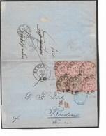 SH 0439. N° Mi 13(2)-16(4) STETTIN 10.1.70 S/Lettre Vers BORDEAUX (F) _ PD - PRUSSE/3/ERQUELINNES + PARIS-BORDEAUX. TB - Norddeutscher Postbezirk (Confederazione Germ. Del Nord)