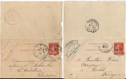 France, Petit Lot De 10 Cartes-lettres (sage, Semeuse 15c Lignée, Semeuse 10c.)  Voir Description - Postal Stamped Stationery