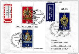 """34-45 -  Enveloppe Recommandée Avec Bloc /timbre Et Oblit Spéciale """"IBRA München 1973"""" - BRD"""