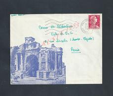 MILITARIA ALGÉRIE LETTRE SUR TIMBRE ILLUSTRÉE  MILITAIRE PHILIPPEVILLE1957 : - Marcophilie (Lettres)