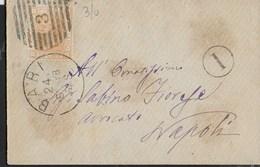 STORIA POSTALE REGNO - ANNULLO NUMERALE A BARRE CERCHIO GRANDE - BARI 25.05.1878 - ANNULLI PORTALETTERE SU BUSTINA - Storia Postale