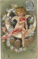 CPA Fantaisie Ange Sur Un Croissant De Lune Avec Cœur Et œufs Gaufrée 1904 - Anges