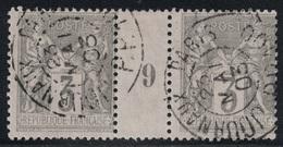 SAGE - N°87 - MILLESIME 9 - PAIRE HORIZONTALE OBLITEREE -PARIS - JOURNAUX PP100. - Marcophily (detached Stamps)