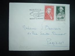 LETTRE TP CHOISEUL 15F+5F + TP CLAUDE CHAPPE CITT PARIS 1949 OBL.MEC.30-11 1962 MARSEILLE RP (13) - 1961-....