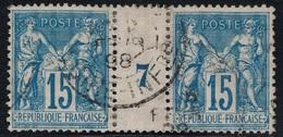 SAGE - N°101 - MILLESIME 7 - PAIRE HORIZONTALE OBLITEREE - COTE 55€. - 1849-1876: Periodo Classico