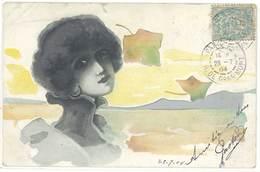 Cpa Illustrateur Femme & Feuilles, Période Art Nouveau    ( ILL ) - Künstlerkarten