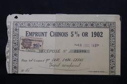 CHINE - Banque Franco / Asiatique - Récépissé Pour 3 Coupons D' Emprunt Chinois 5% Or De 1902 , Paris En 1931 - L 57495 - Oude Documenten