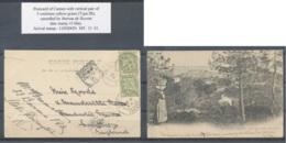 D - [106710]B//-N° 111, 5c Vert, Blanc, Paire Verticale, Obl Bureau De Recette 'CANNES' Sur CP (légère Déchirure) Du Pri - 1900-29 Blanc