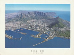 Postcard. South Africa. Cape Town. Table Mountain And Table Bay Harbor. Circulated 2004. Flowers And Butterfly Stamps. - Afrique Du Sud