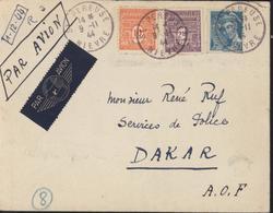 Lettre Par Avion Pr Dakar Sénégal YT 549 Mercure + 629 Et 629 Arc De Triomphe CAD St Pereuse Niève 9 1 1944 - 1944-45 Arc Of Triomphe