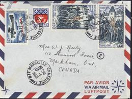 YT 1565 + 1579 Jeanne D'Arc X2 + 1354B CAD Marseille Canebière 17 1 1969 Tarif Spécial Pour Canada + Avion - Marcophilie (Lettres)