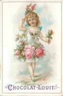 CHOCOLAT LOUIT- Enfant Et Fleurs, Lot De 4 Chromos (format 10,5cm X 7cm) - Louit